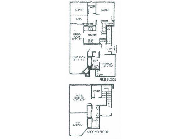 1,300 sq. ft. C floor plan