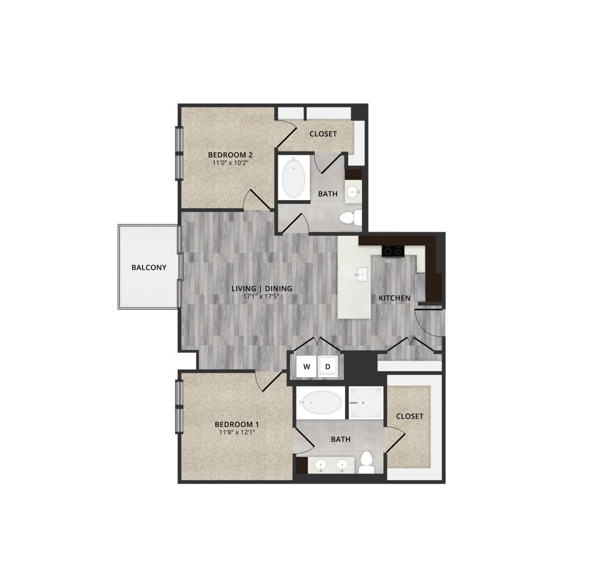 1,134 sq. ft. A3 floor plan
