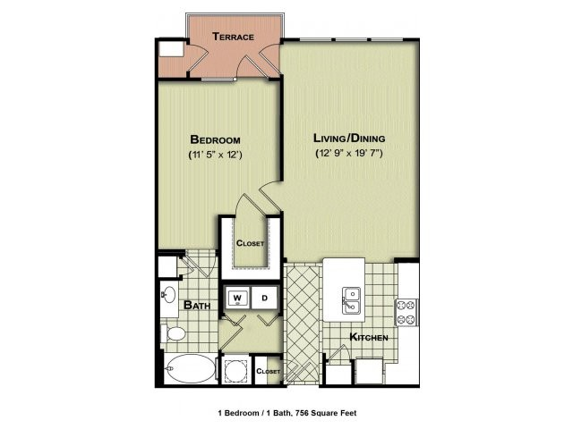 756 sq. ft. A1a floor plan