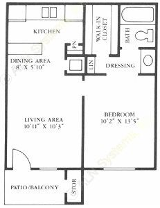 537 sq. ft. A1/A2 floor plan