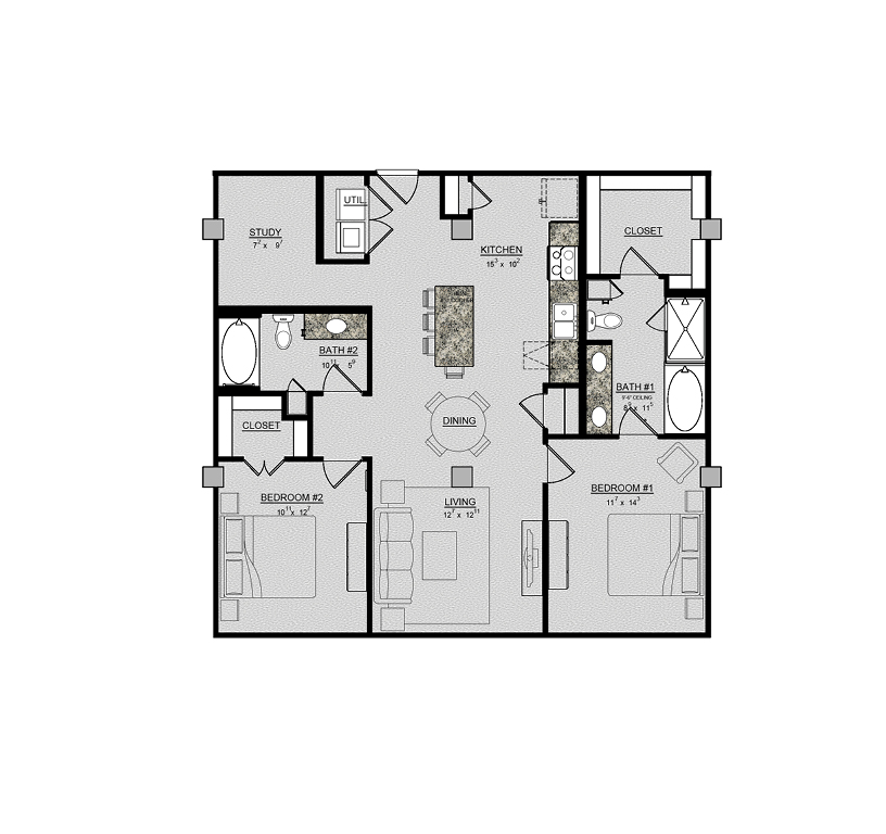 1,244 sq. ft. Wisteria floor plan