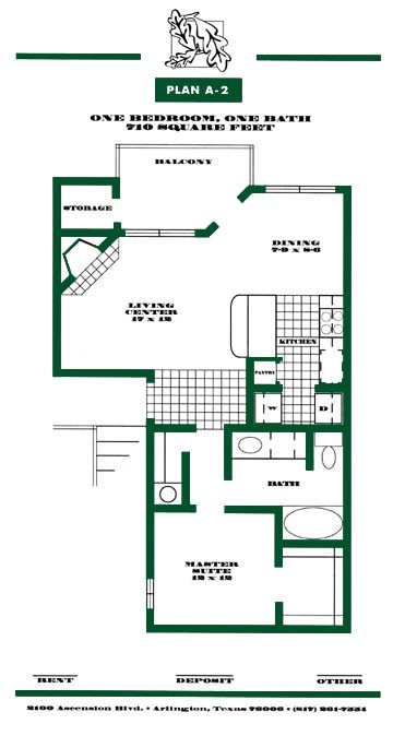 710 sq. ft. A2 PH I floor plan