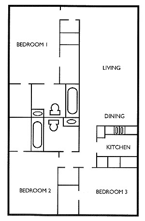 974 sq. ft. Walnut floor plan