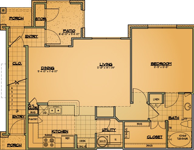 882 sq. ft. A5 floor plan