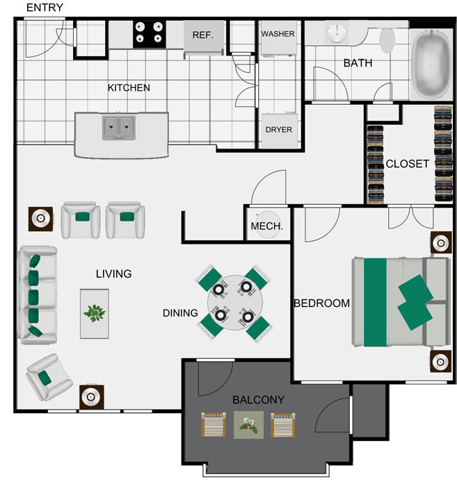 823 sq. ft. A3 floor plan
