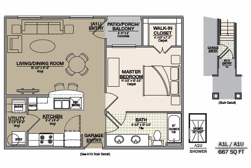 667 sq. ft. A1 floor plan