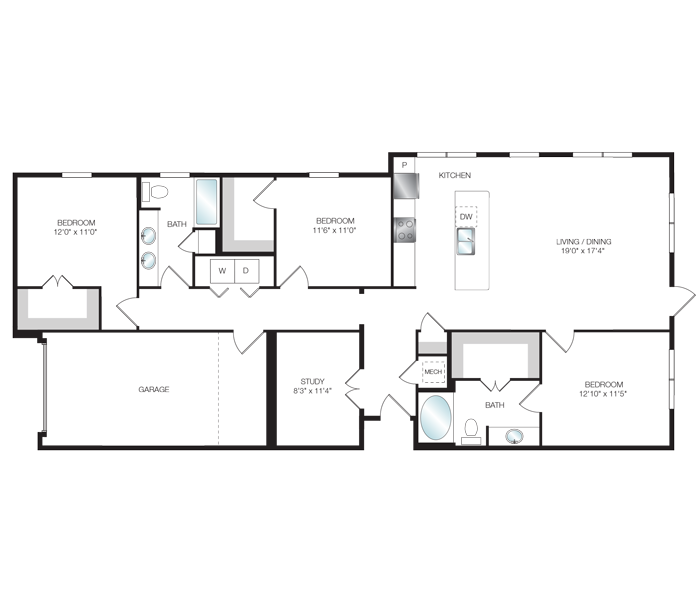 1,600 sq. ft. C1.2 floor plan