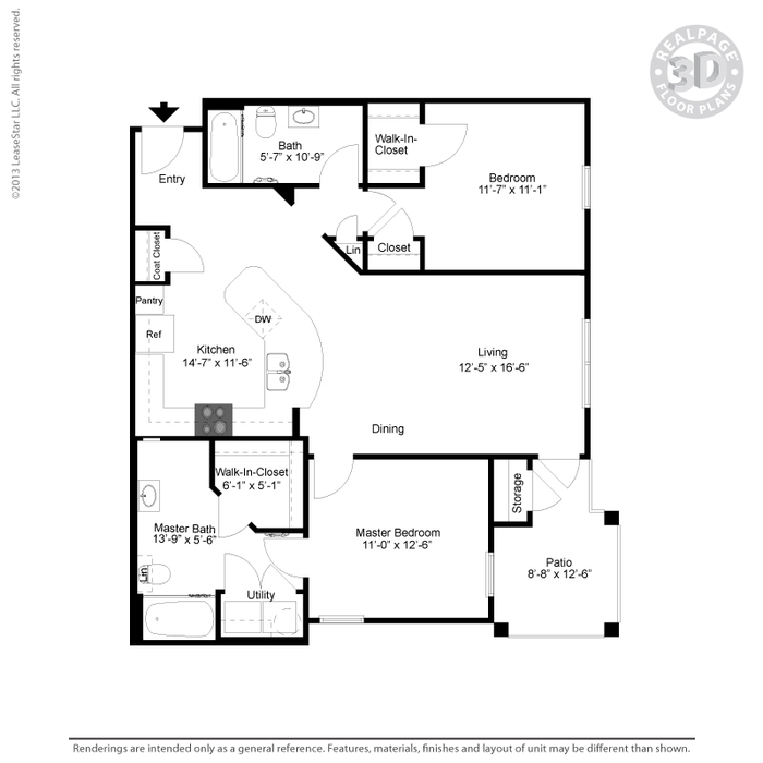 1,072 sq. ft. B2MID/HC floor plan