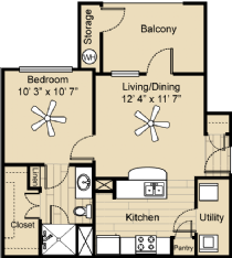 583 sq. ft. A1S floor plan