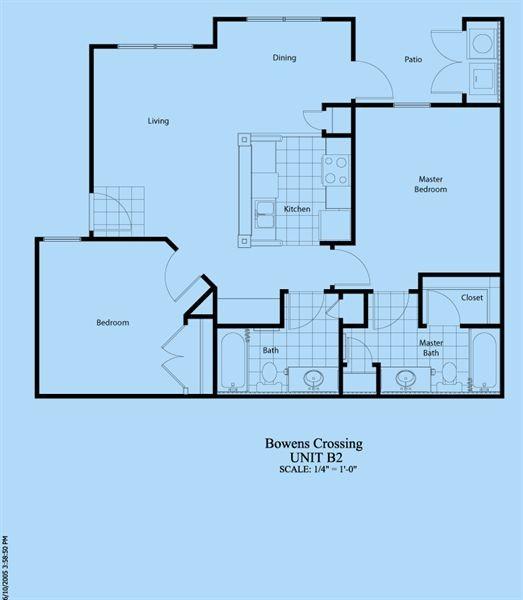 954 sq. ft. B-2 floor plan