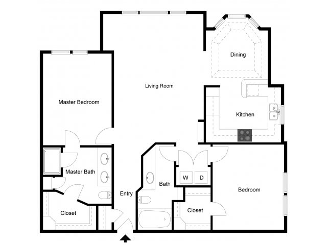 1,342 sq. ft. B4 floor plan