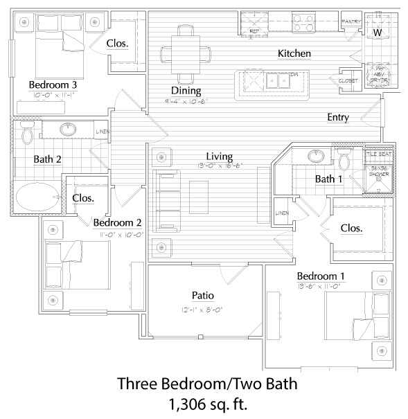 1,306 sq. ft. floor plan