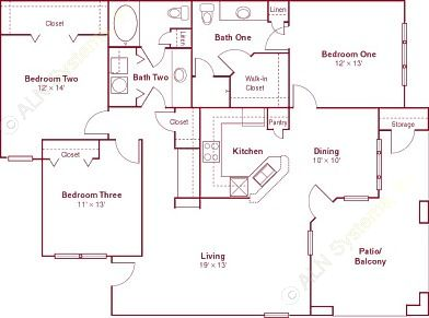 1,404 sq. ft. C1 floor plan