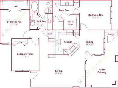 1,404 sq. ft. C1 floor plan