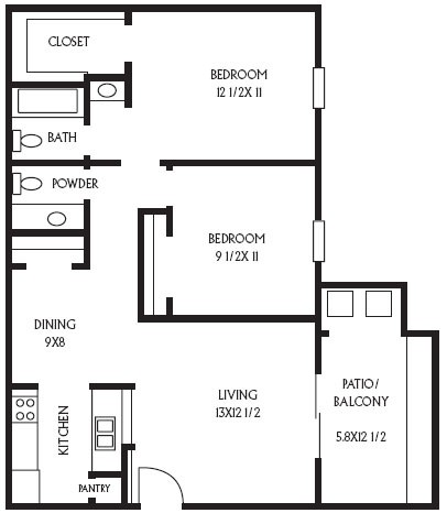 810 sq. ft. B3 floor plan