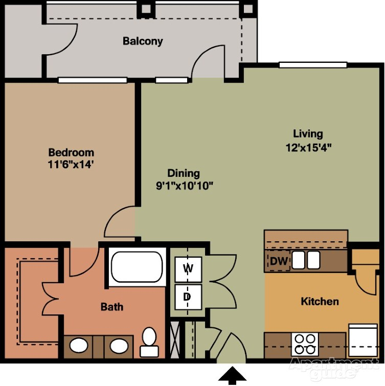 843 sq. ft. A5 floor plan