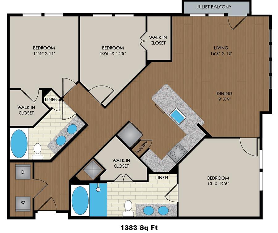 1,383 sq. ft. Tesla floor plan