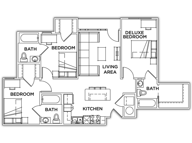 1,078 sq. ft. Deluxe floor plan