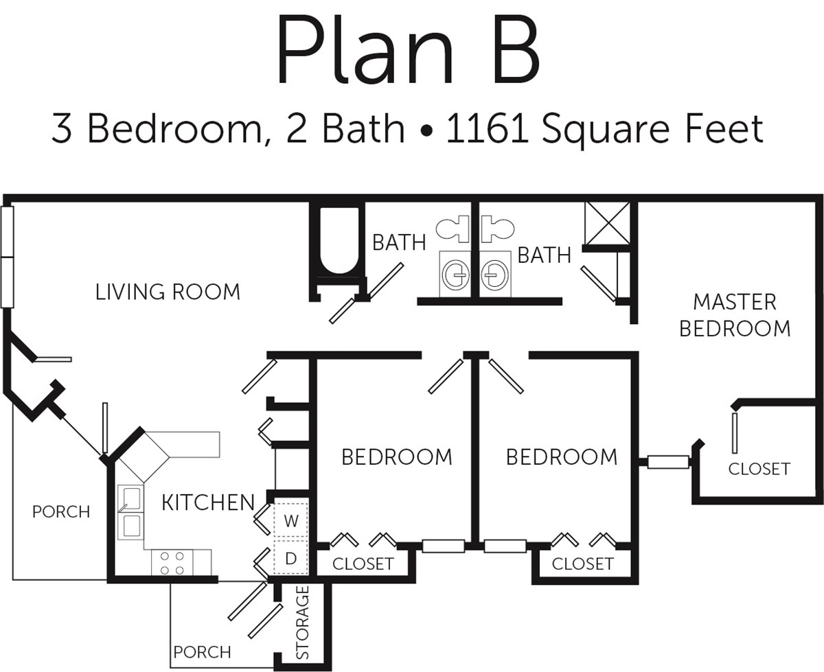 1,161 sq. ft. 50% floor plan