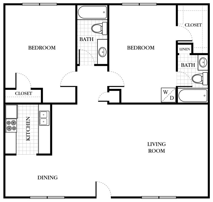 1,088 sq. ft. B2 floor plan