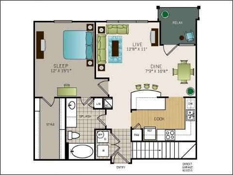 847 sq. ft. to 901 sq. ft. floor plan