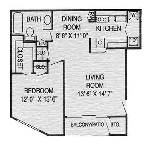 646 sq. ft. C floor plan