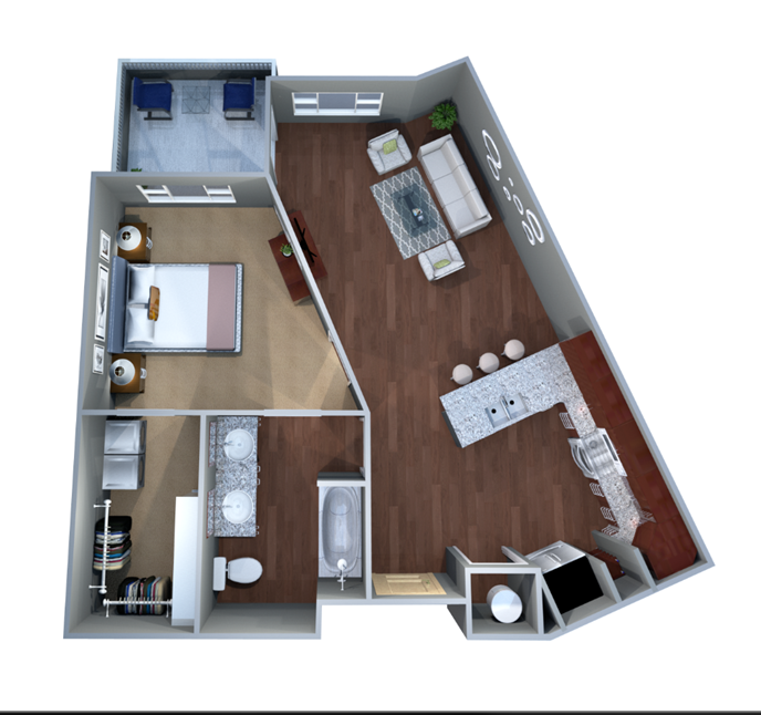 761 sq. ft. 1C.1 floor plan