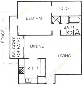 764 sq. ft. B floor plan