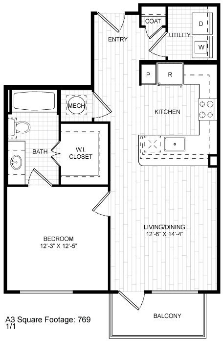 769 sq. ft. A3 floor plan