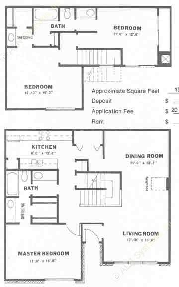 1,500 sq. ft. C2 floor plan