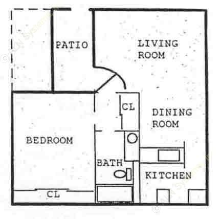 629 sq. ft. A3 floor plan