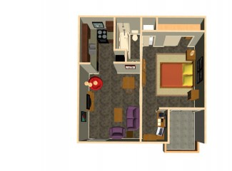 650 sq. ft. Hendrix floor plan