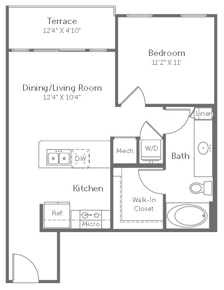611 sq. ft. A13 floor plan