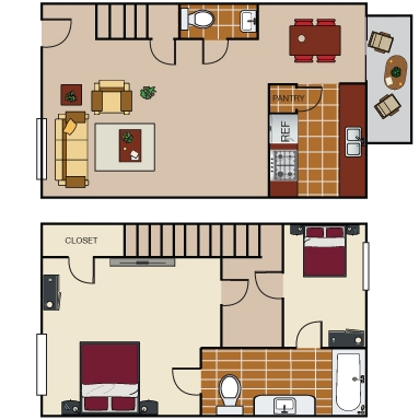 880 sq. ft. TH2 floor plan