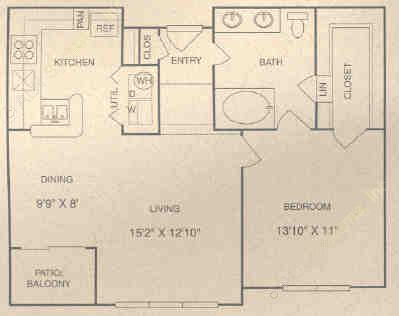 809 sq. ft. CG floor plan