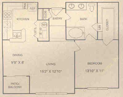 809 sq. ft. CG floor plan