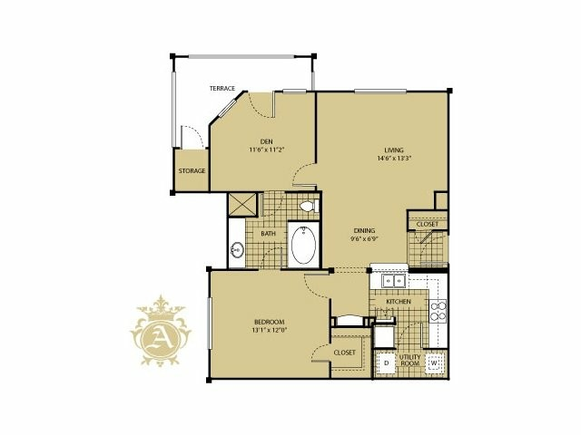 866 sq. ft. A4 floor plan