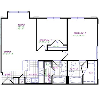 974 sq. ft. to 994 sq. ft. floor plan