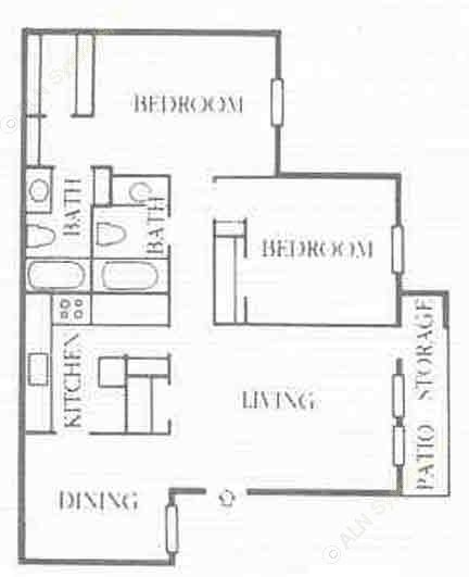 1,063 sq. ft. B3 floor plan