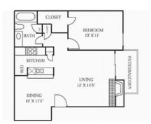 732 sq. ft. A2 floor plan