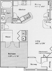 791 sq. ft. Hawthorn floor plan