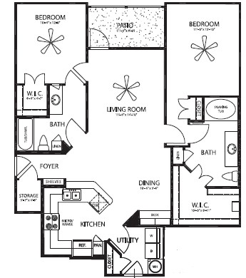 1,187 sq. ft. Guadalupe/G floor plan