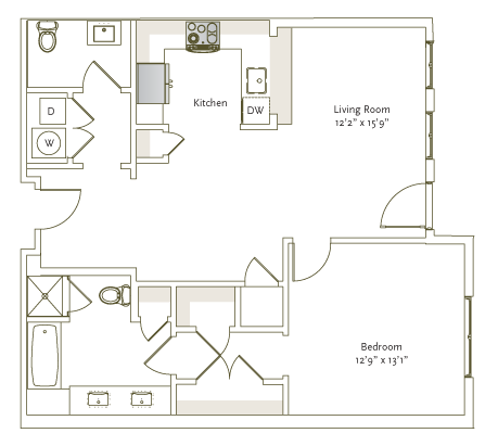 928 sq. ft. A2-6 floor plan