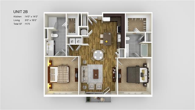 1,175 sq. ft. 2B floor plan