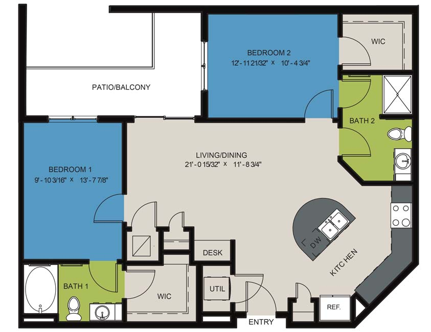 1,028 sq. ft. B2D floor plan