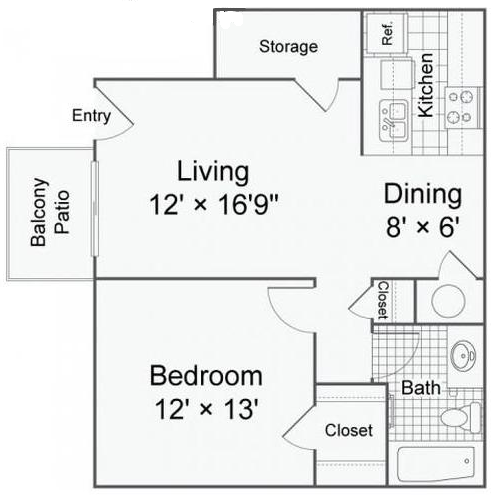 583 sq. ft. A1-b floor plan