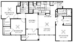 1,213 sq. ft. C1 floor plan