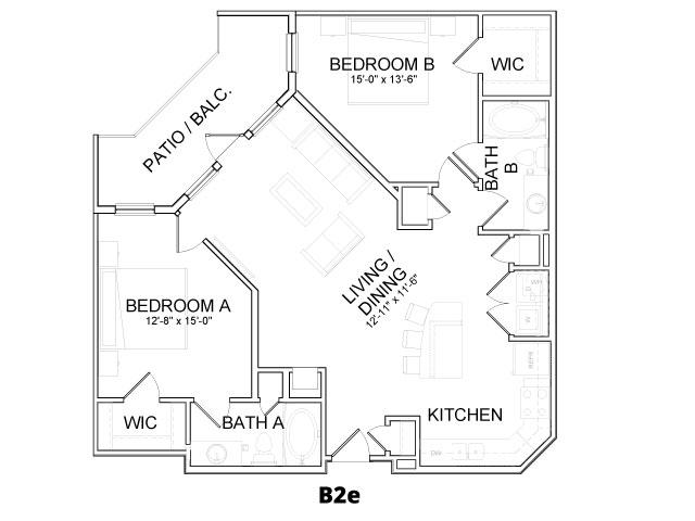 1,115 sq. ft. B2E floor plan