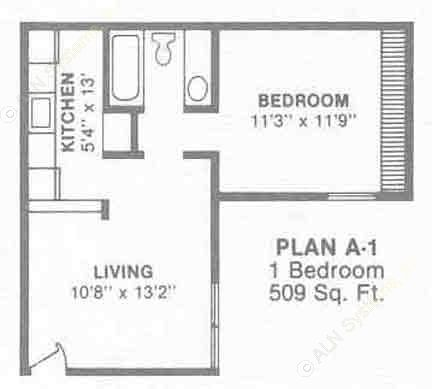 509 sq. ft. to 602 sq. ft. A1-4 floor plan