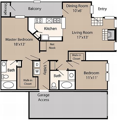 1,383 sq. ft. C1 floor plan